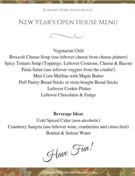 Easy New years Open House Menu
