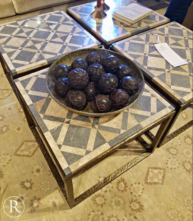 stone inlay table with a brass base trends