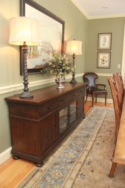 Dining Room sideboard with lamps