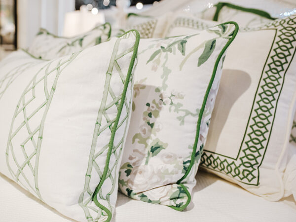 Green and White Pillows